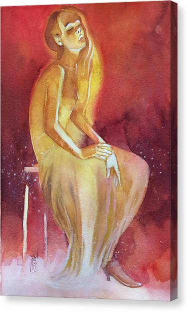 Sitting Girl Canvas Print by Alessandro Andreuccetti