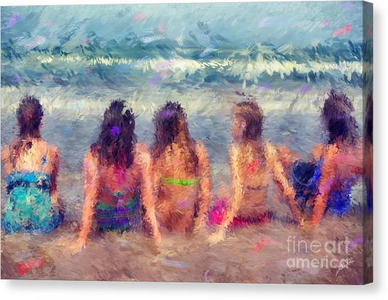Sitting In The Surf Canvas Print