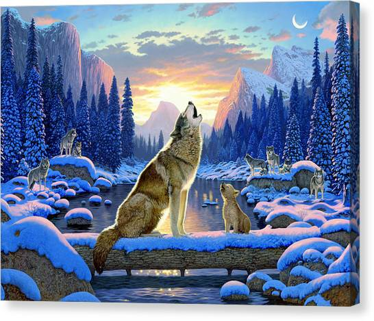 Wolf Moon Canvas Print - Sitting Wolf And Cub by Chris Heitt