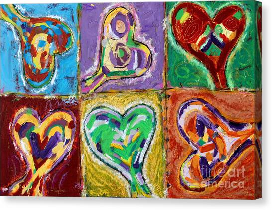 Six Hearts Canvas Print by Kelly Athena
