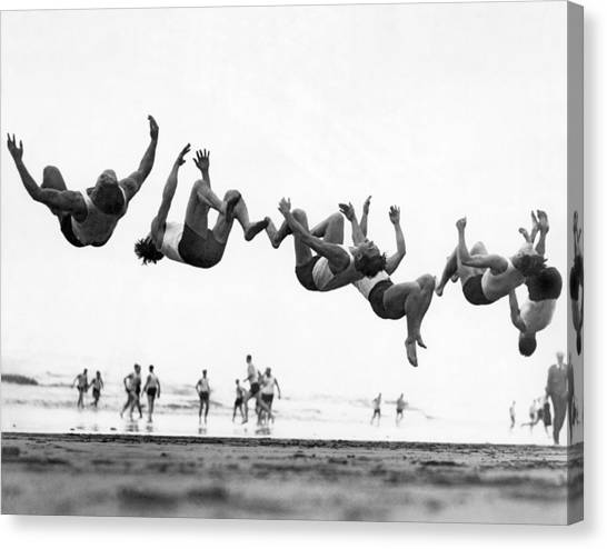 Tumbling Canvas Print - Six Men Doing Beach Flips by Underwood Archives