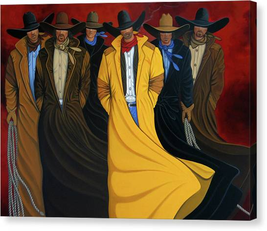 Contemporary Cowboy Art Canvas Print - Six Pac by Lance Headlee