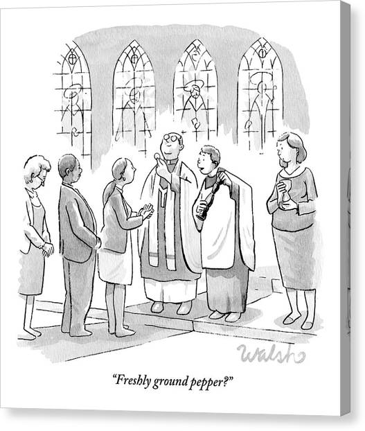 Pastor Canvas Print - Six People In Church by Liam Walsh