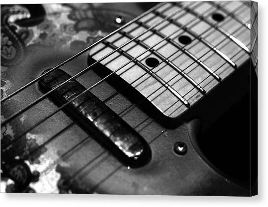 Fender Guitars Canvas Print - Six String by Mark Rogan