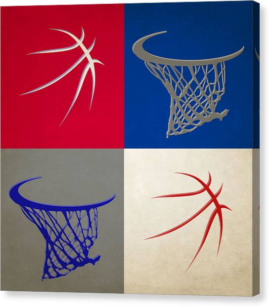Philadelphia Sixers Canvas Print - Sixers Ball And Hoop by Joe Hamilton