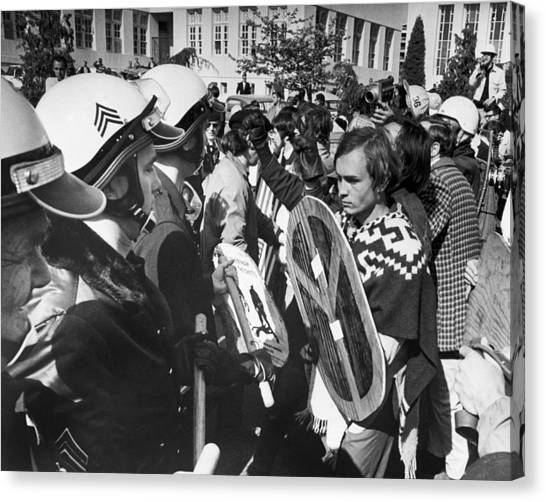 Placard Canvas Print - Sixties Protest Face Off by Underwood Archives