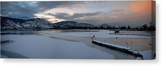 Skaha Lake Sunset Panorama 02-27-2014 Canvas Print