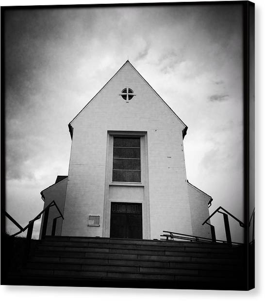 European Canvas Print - Skalholt Cathedral Iceland Europe Black And White by Matthias Hauser