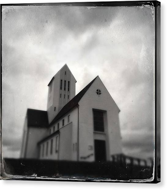Grey Canvas Print - Skalholt Church In Iceland by Matthias Hauser