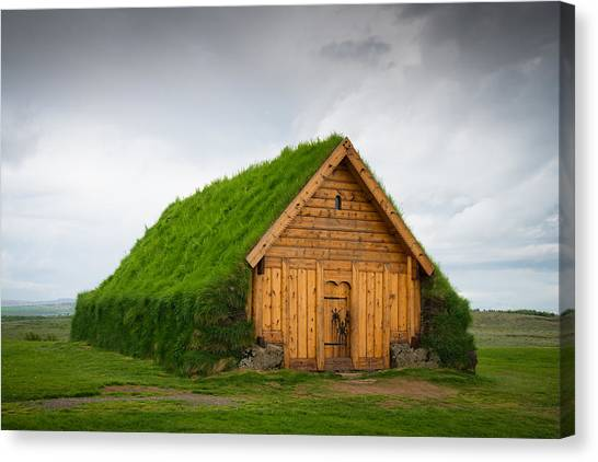 Skalholt Iceland Grass Roof Canvas Print