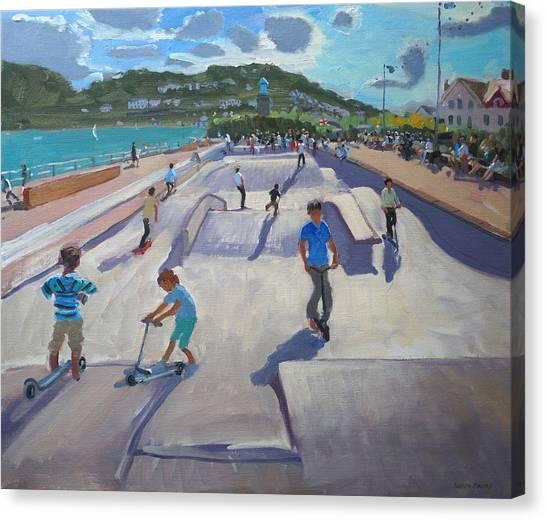 Skateboarding Canvas Print - Skateboaders  Teignmouth by Andrew Macara
