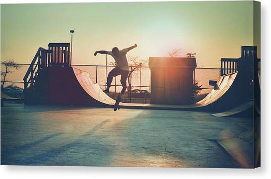 Skateboarder Jumping Canvas Print by Fran Polito
