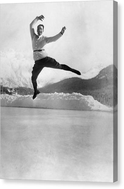 Acrobatic Canvas Print - Skater Up In The Air by Underwood Archives