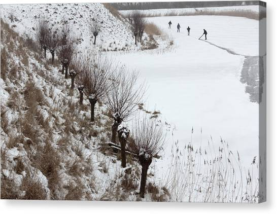Speed Skating Canvas Print - Skaters On The Canal Of Loevestein In Netherlands by Ronald Jansen