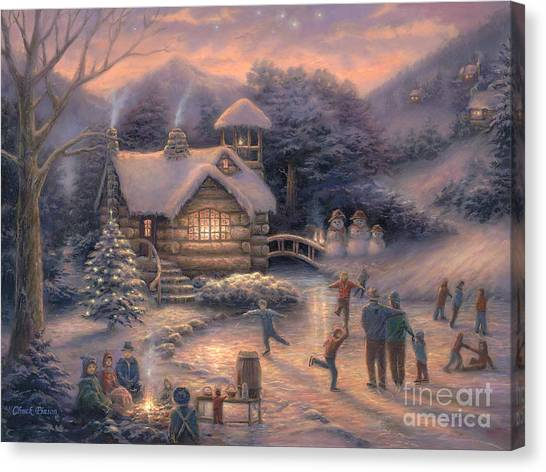 Ice Skating Canvas Print - Skating By Twilight by Chuck Pinson