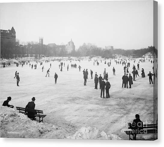 Skating Canvas Print - Skating In Central Park by Anonymous
