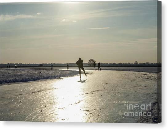 Speed Skating Canvas Print - Skating On Natural Ice In The Netherlands by Patricia Hofmeester