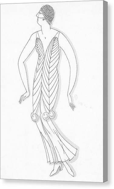 Sketch Of A Woman Wearing White Mistletoe Costume Canvas Print by Robert E. Locher