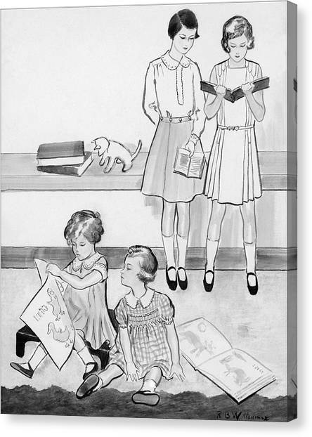 Sketch Of Four Young Girls Canvas Print