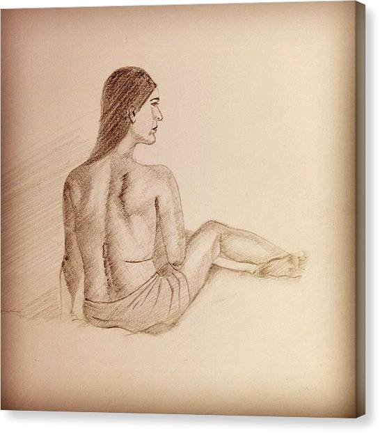 Stroke Canvas Print - #sketch #pencil Art #shades #female by Boston Artist