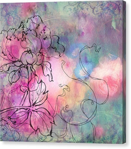 Smokey Canvas Print - Sketchflowers - Dahlia by MGL Meiklejohn Graphics Licensing