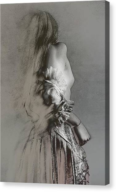Charcoal Canvas Print - Sketching Feminity by Olga Mest