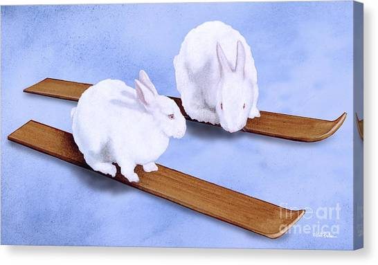 Ski Canvas Print - Ski Bunnies... by Will Bullas