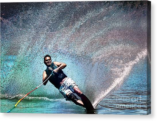Water Skis Canvas Print - Ski Time by Linda Arnado