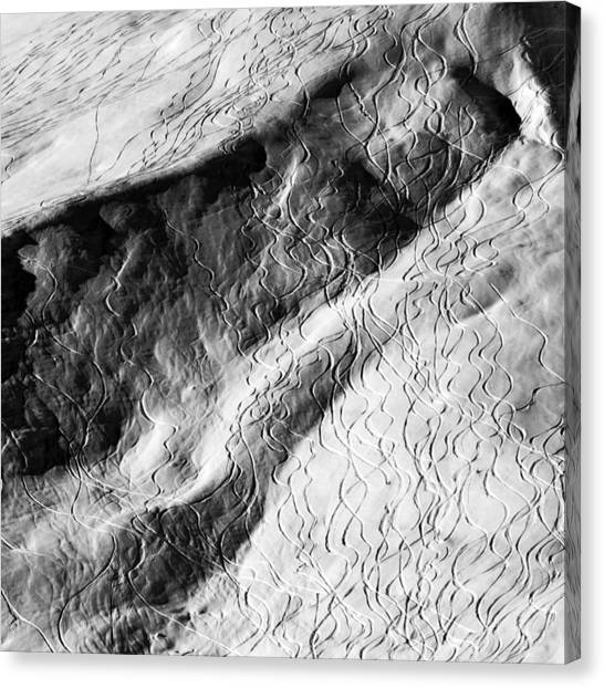 Climate Change Canvas Print - Ski Traces by Frank Tschakert