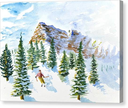 Skier In The Trees Canvas Print
