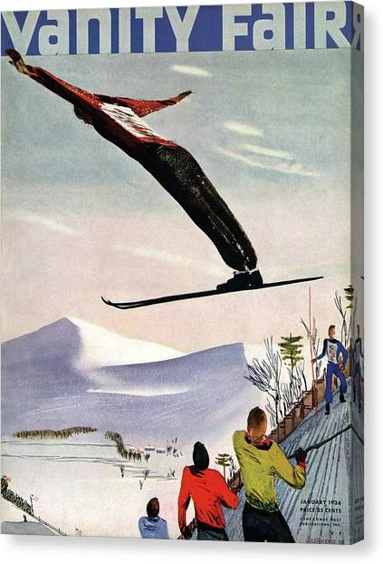 Ski Jump On Vanity Fair Cover Canvas Print by Deyneka