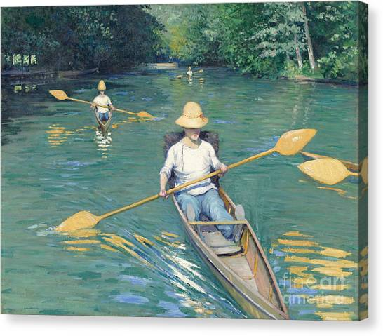 Canoe Canvas Print - Skiffs by Gustave Caillebotte