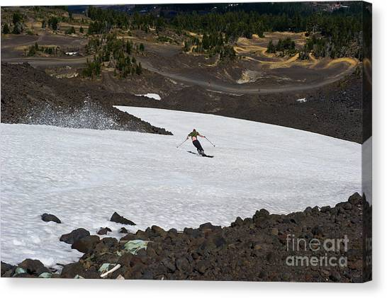 Skiing Bachelor In August Canvas Print by Jackie Follett