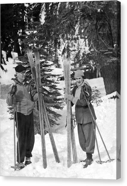 Ski Canvas Print - Skiing Badger Pass In Yosemite by Underwood Archives