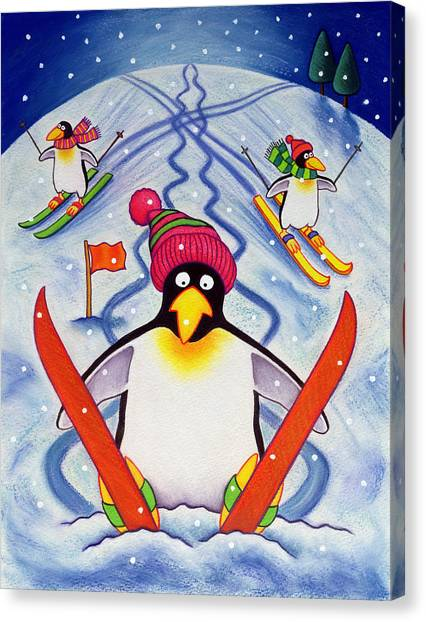 Pom-pom Canvas Print - Skiing Holiday by Cathy Baxter