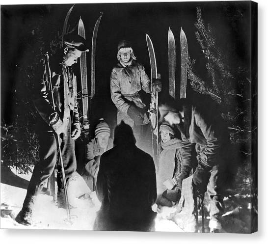 Ski Canvas Print - Skiing Party Camps In Siberia by Underwood Archives