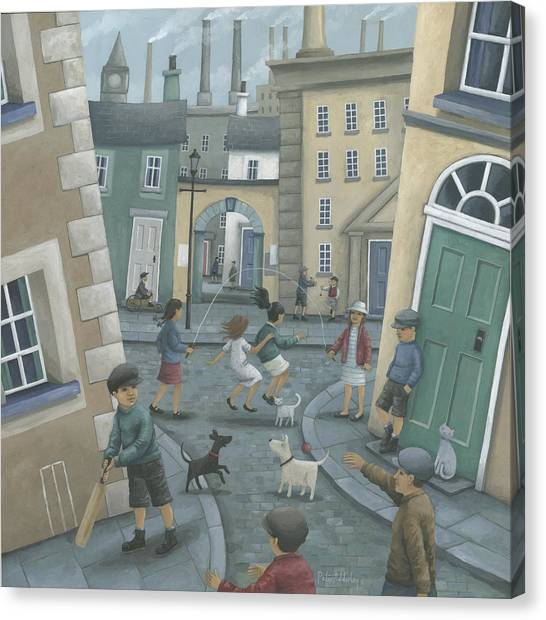 Crickets Canvas Print - Skipping By The Green Door by Peter Adderley