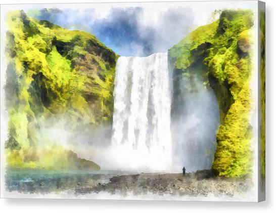 Skogafoss Waterfall Iceland Painting Aquarell Watercolor Canvas Print