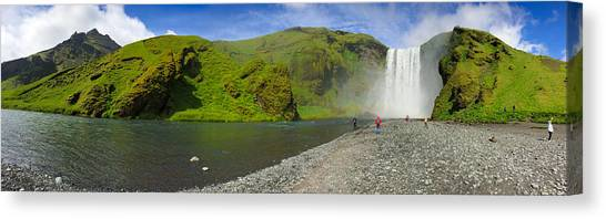 Waterfalls Canvas Print - Skogafoss Waterfall Iceland Panorama by Matthias Hauser
