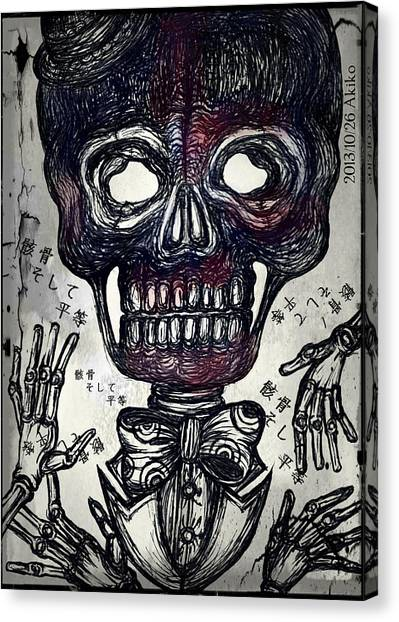 Surrealism Canvas Print - Skull And Equality by Akiko Okabe