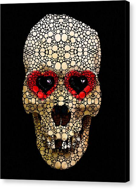 The Grateful Dead Canvas Print - Skull Art - Day Of The Dead 3 Stone Rock'd by Sharon Cummings