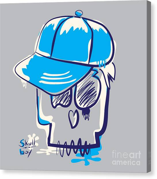 Rocker Canvas Print - Skull Boy Illustration, Typography by Syquallo