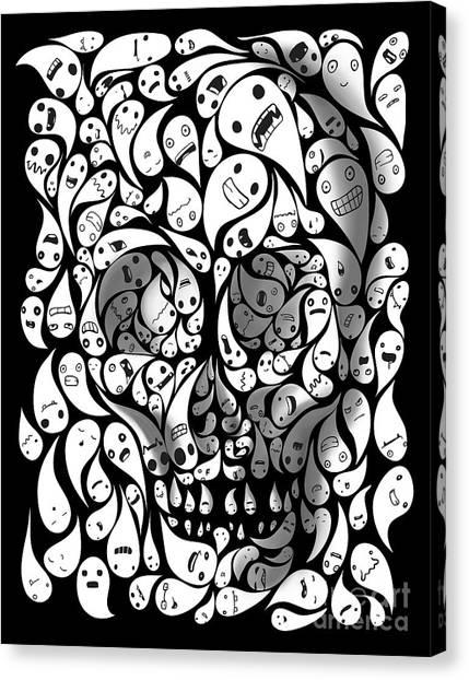Dia Del Muerto Canvas Print - Skull Doodle by Sassan Filsoof