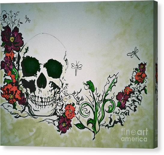 Skull Flower Mural Canvas Print by Pete Maier