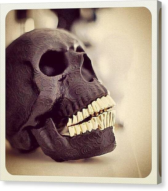 Biker Canvas Print - Skull by Marina Boitmane