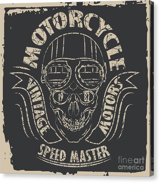 Skull Motorcycle Graphic Design Canvas Print by Lakoka