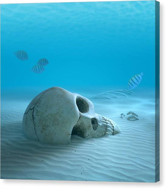 Skull Canvas Print - Skull On Sandy Ocean Bottom by Johan Swanepoel