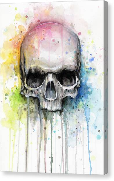 Tattoo Canvas Print - Skull Watercolor Painting by Olga Shvartsur