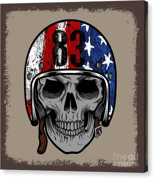 Engraving Canvas Print - Skull With Retro Helmet And American by Ixies