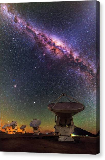 Atacama Desert Canvas Print - Sky Above Alma Radio Telescope by Babak Tafreshi